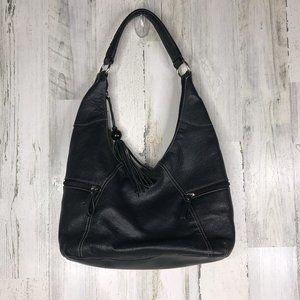Aurielle genuine black leather hobo bucket bag